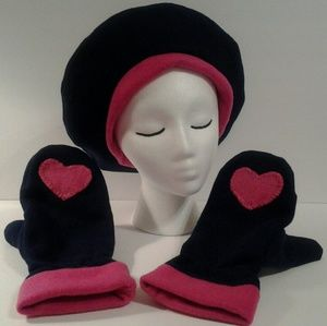 Hat Mittens Navy Pink accents by Have Heart Daily